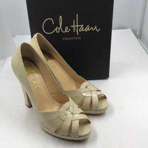 Cole Haan Ivory Patent Leather Open Toe Heels 8.5